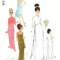 60s Wedding dress bridesmaid dress or evening dress with our without train vintage sewing pattern McCalls 8527 Bust 34