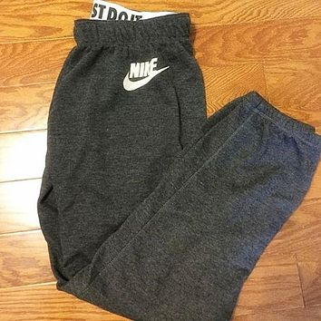 """Women Autumn Winter Fashion """"NIKE"""" Print Thick Sport Stretch Pants Trousers Sweatpants Gym Jogging Exercise Casual Sportswear Grey F"""