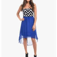 Blue Sophisticated Strapless High Low Dress | $10.00 | Cheap Trendy Club and Party Dresses Chic Dis