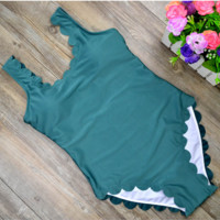 Fashion sexy hot scalloped vest type one piece bath suit Green