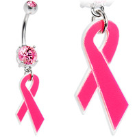 Pink Gem Breast Cancer Pink Ribbon Belly Ring | Body Candy Body Jewelry