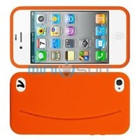 MiniSuit Cute Feed Me Smiley Silicone Case + Pocket + Stickers for iPhone 4, 4S (Orange)