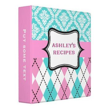 Argyle and damask pattern pink, aqua recipe 3 ring binder from Zazzle.com