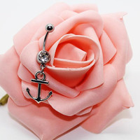 Belly button ring,Anchor belly ring, Anchor belly button jewelry