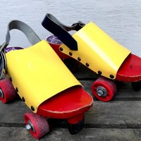 Vintage Famolare Roller Skates, Yellow Vinyl and Red Wood Skates, Size 8, 1970s