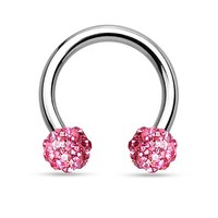 16G Crystal Paved Ferido Balls Stainless Steel Horseshoe Hoop Multi-functional Captive Ring for Nose Daith Lip Eyebrow Nipple Ear Cartilage Helix Septum