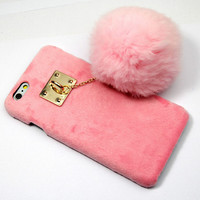 Furry Rabbit Tail creative case Cover for iPhone 5s 6 6s Plus Gift