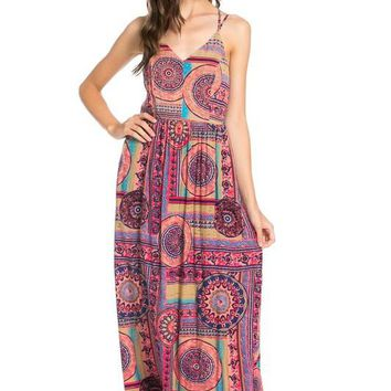 print maxi dress with double straps
