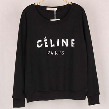CELINE winter new fresh sweater female loose sets of student bottoming shirt Black