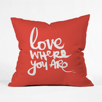Location Love Pillow Cover in Red