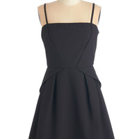 ModCloth LBD Short Length Spaghetti Straps A-line Start with Sophistication Dress in Black