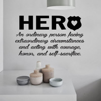 Police Officer Hero Definition | Vinyl Wall Lettering | Wall Decals