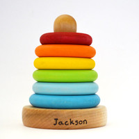 Personalized Wooden Toy - Stacking Rings - Eco Friendly Natural Wood Toy - Waldorf Wooden Toy