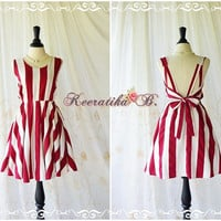 A Party Dress - V Shape Stripe Dress Cream Burgundy Dress Backless Dress Prom Party Dress Vintage Style Bridesmaid Dress Custom Made