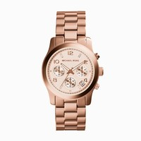 Michael Kors Runway Rose Gold-Toned Stainless Steel Ladies Chronograph Watch