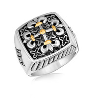 18K Yellow Gold and Sterling Silver Men's Ring with Fleur De Lis Cross Accents: Size 10