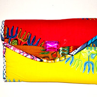 Women Jewel Holiday Clutch- Blue, Pink And Yellow Formal Clutch, Women Christmas Party Clutch- African Ankara Fabric Purse By Zabba Designs