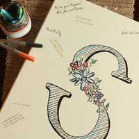 Personalized Wedding Guestbook Canvas / Guestbook Alternative, Hand-Painted Floral Letter / 11x14, 16x20, or 20x24