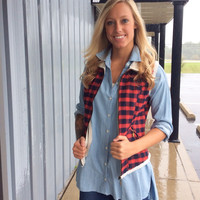 Red & Navy Flannel Vest