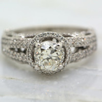 Old Mine Cut / Old European Cut Diamond in 14k White Gold Reproduction Antique Edwardian Engagement Ring with Diamond Halo