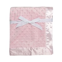 "Baby Starters Textured Dot Blanket with Satin Trim, Pink 30"" x 40"" Pink Dot"