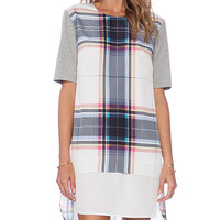 Finders Keepers Super Power Tshirt Plaid Dress in White