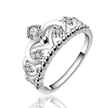 Fashion Vintage Silver Crystal Drill Hollow Crown Shaped Queen Temperament Ring For Women