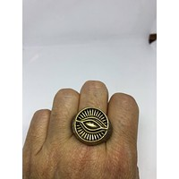Vintage Gothic Gild and Silver Stainless Steel Illuminati Eye Mens Ring