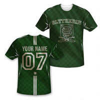 Exclusive Personalized Slytherin Crest Youth Quidditch Jersey Style T-Shirt |