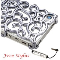 Luxury Gray Chrome Electroplating Hollow Pattern PC Hard Back Case Cover for iPhone 4G 4S