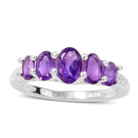 Amethyst 5 Stone Ring in Sterling Silver Nickel Free (Size 7) TGW 1.185 cts.