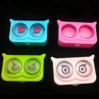 New cool cat contact lens case for eyes cute plastic contact lenses box cartoon color eyewear cases