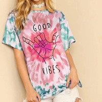 Graphic Print Tie Dye Shirt Top Tee