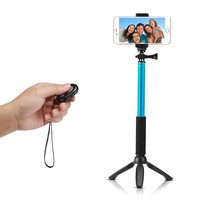 Accmor Rhythm Pro Selfie Stick Extendable Handheld Monopod with Mini Tripod Stand + Bluetooth Remote Shutter for iOS & Android Devices - Sky Blue