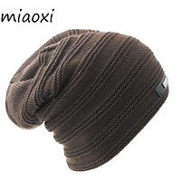 miaoxi New Style Knitting Winter Warm Men Fashion Hat Unix Adult Solid Knit Women Caps Band Beanies Skullies For Woman Bonnet