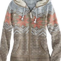 AEO Women's Fair Isle Polar Fleece Hoodie (Peach)