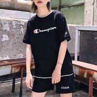 """""""Champion"""" Unisex Loose Casual Multicolor Letter Logo Print Couple Short Sleeve  T-shirt Top Tee"""