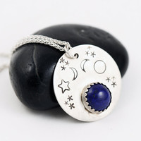 Lapis Lazuli Necklace, Celestial Jewelry, Starry Sky Pendant Necklace, Hand Stamped Sterling Silver