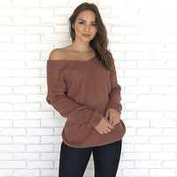Got It Twisted Knit Back Sweater in Mauve