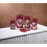 FOOD SAFE RED ROOSTER CANISTERS SET OF 4