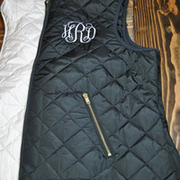 Women's Monogrammed Personalized Embroidered Lightweight Quilted Vest