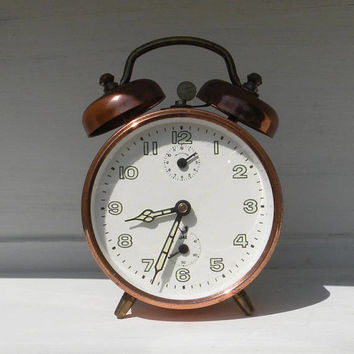 French vintage copper Jaz alarm clock, retro alarm clock, French alarm clock, desktop clock, tabletop clock, unique clock, little clock
