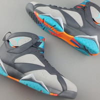 Nike Air Jordan VII 7 Retro BARCELONA DAYS BOBCATS WOLF GREY BLUE ORANGE PINK 304775-016