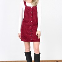 Classic Corduroy Overall Dress {Burgundy}