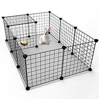 Tespo Pet Playpen, Indoor Portable Metal Wire Yard Fence for Small Animals, guinea pigs, rabbits Kennel Crate Fence Tent, Black 12 Panels