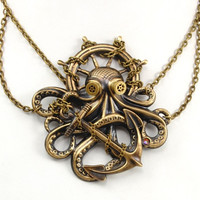 Steam Punk Necklace Octopus Jewelry Kraken by VictorianCuriosities