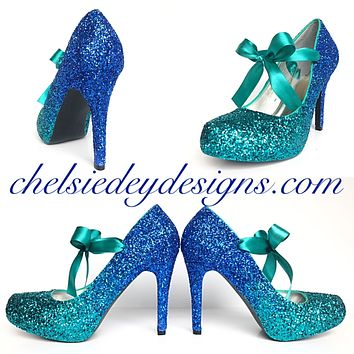 Teal Ombre Glitter Platform Pumps, Something Blue Wedding Shoes
