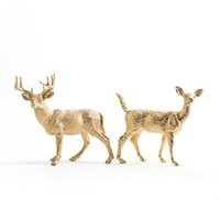 Deer Cake Topper, Gold Deer, Woodland Wedding, Buck and Doe set of 2 (Gold)