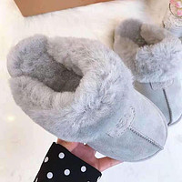 UGG Winter Ladies Men Warm Flat Snow Ankle Slipper Shoes Wool Boots Shoes