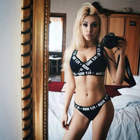 2017 Women Sexy Letter Print Racer Back Strap Sports Bra T-Back Pants Underwear Set [10540883599]